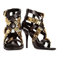 altın gladyatör sandalet toptan satış-Sıcak Altın Mektup Cut out Seksi Gladyatörler Kadınlar Stiletto Topuk Peep Toe Yaz Sandalet Akşam Parti Pompaları Feminino Yüksek Qulity