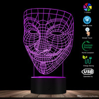 Wholesale v for vendetta mask plastic resale online - V For Vendetta D Optical illusion Night Light Disobey Anonymous Guy Fawkes Mask Party Decorative Lighting Glowing LED Desk Lamp