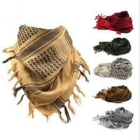ingrosso arab scarf-Shemagh KeffIyeh Shemagh Sciarpe musulmane Esercito Tattico militare sciarpa araba scialle caccia Paintball testa sciarpa faccia maglia bandane deserto SF301