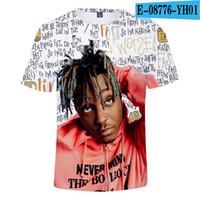 manga corta personalizada t al por mayor-Jugo RIP WRLD la camiseta de Hip Hop cantante 3D digital en color de impresión personalizados informal de manga corta de la camiseta al por mayor de 2XS-4XL