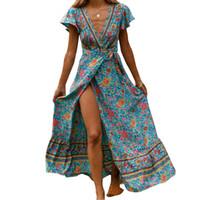 ingrosso le donne popolari si vestono-Abito nuovo di estate Indie Folk 2019 donne sexy stampato Bow Holiday Beach del V-manica corta Donna Elegante Partito M0511