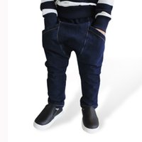 harem kot çocukları toptan satış-Yeni Bahar Çocuklar Kot Katı Bebek Erkek Moda Denim Harem Pantolon Çocuk Sonbahar Spor Kot Pantolon