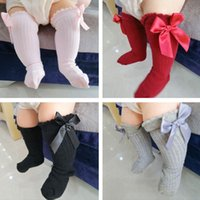 Wholesale big laced socks for sale - Group buy Kids Toddlers Girls Big Bow Knee High Long Soft Cotton Lace Baby Socks Kids socks kids socks meias New