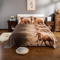 Wholesale animal horses bedding set 3d resale online - 3D Bedding Set Animal Tiger Leopard Horse Print Duvet Cover Bed Sheets Cover King Queen Pillowcase Bed Linens Home Textile D20