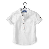 Wholesale blouses for kids resale online - 2018 Casual baby children boy cotton short sleeve blouse for summer kids boys white Shirts