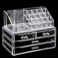 organisateurs de tiroir en acrylique clair achat en gros de-Caisse de maquillage claire 4 tiroirs 16 grille organisateur cosmétique boîte de stockage de bijoux acrylique