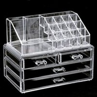 Wholesale acrylic clear makeup drawer organizer for sale - Group buy Clear Makeup Case Drawer grid Cosmetic Organizer Jewelry Storage Acrylic Box
