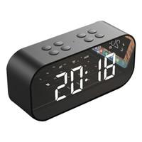 ingrosso altoparlante di allarme bluetooth-AEC BT501 Altoparlante portatile senza fili Bluetooth Colonna Subwoofer Music Box LED Time Snooze Alarm Clock per PC Laptop Phone