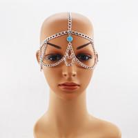 alın için mücevherat toptan satış-Moda Basit Kadınlar Punk Metal Kafa Zinciri Cadılar Bayramı Takı Forehead Kafa bandı maske zincir Saç aksesuarları Kadınlar