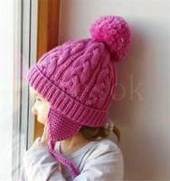 Wholesale crochet baby hat braids resale online - Kids Twisted Braid Knitting Hats Baby Leisure Winter Crochet Beanies Caps Children Warm Soft Pompon Cap Girl Party Hat DA037