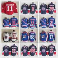 jagr jerseys venda por atacado-Vintage New York Rangers 11 Mark Messier 2 Brian Leetch 68 Jaromir Jagr 35 Mike Richter Azul Branco Ice Hockey Jerseys