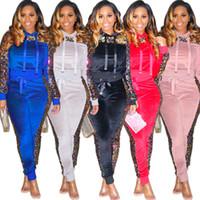 zweiteiliges paillettenset großhandel-Sexy Outfits zweiteilige Set und Hose Trainingsanzug Frauen mit Kapuze Patchwork gestreiften Pailletten lässig Ensemble femme dos Piezas