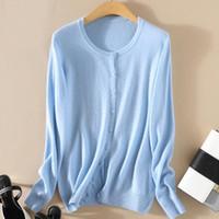 Wholesale silver knit top resale online - Basic Top Brand O neck Cashmere Wool Blend Cardigans Sweater Women Knit Soft Warm Short Cardigans Female tbsr576