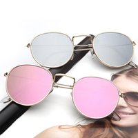 Wholesale eye wear lens for sale - Group buy Round Frame Sunglasses Colors Colorful Fashion Women Metal Summer Outdoor Eye Wear Retro Sun Glasses LJJO