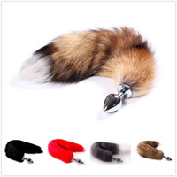 cola de zorro al por mayor-Anime Cosplay Soft Fox Tail con acero inoxidable Metal Butt Plug Fetish Fantasy Pareja Vida Flirting Anal Plug Animal Faux Tail