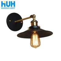 Wholesale touch up painting for sale - Group buy Vintage iron plate Wall lamp Black Industrial wind Dia cm Edison Bulb Dining Study Bed Room Retro American Iron Wall Light