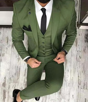zeytin giyim toptan satış-Olive Green Mens Suits For Groom Tuxedos 2019 Notched Lapel Slim Fit Blazer Three Piece Jacket Pants Vest Man Tailor Made Clothing