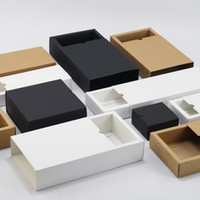 Wholesale black kraft gift boxes resale online - Kraft paper box black white paper drawer box for tea gift underwear biscuit packaging carton can be customized x14x5cm