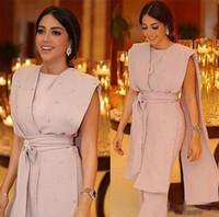 overall modern großhandel-2019 Neue Formale Rosa Abendkleider Sleeveless Cape Perlen Sashes Jumpsuit Perlen Perlen Modern Arabisch Dubai Formelle Kleidung Party Prom Kleider