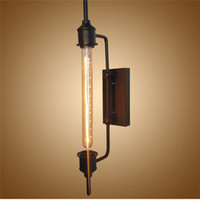 ingrosso lampade a tubo nero-Lampada da parete vintage retrò in metallo nero a tubo di vapore per bagno Vanity Lights portico lampada da notte a sospensione Applique industriale