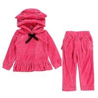 Wholesale kids velvet hoodies resale online - Baby Girls Hoodie Set Gold Velvet Kids Casual Clothes Girls Outfits Sweatshirt Set Baby Solid Ear Bow Tie Hoodie Pocket Leisure Pants