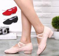 chaussures folkloriques femmes achat en gros de-Hot New Adult chaussures de toile à talons hauts Ballroom Latin chaussures de danse femmes fitness chaussures de karaté baskets plats Chaussures de danse folklorique