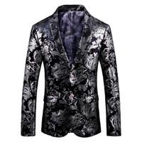 düğün için blazerler toptan satış-Lozoga Blazer Erkekler Erkek Blazers Moda Slim Fit Takım Elbise Ceket Kadife Parti Düğün Sahne Balo Sofra başkanın İçin Man Tasarımları