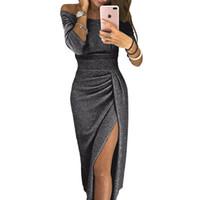 top kılıfı toptan satış-2019 Siyah Sequins Yan Bölünmüş Gelinlik Modelleri Uzun Kollu Kılıf Çay Boyu Resmi Elbiseler Abiye Balo LOL Düğün Ürünleri