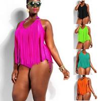 traje de baño monokini con flecos y tallas grandes al por mayor-Super Large 2xl 3xl 4xl Plus Size Fringe Swimwear Black Big Traje de baño de una pieza Trajes de baño para mujeres de peluche Borla Monokini Y19072401