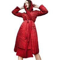 chaqueta de vino tinto al por mayor-2019 largo rojo vino y negro chaqueta de invierno para mujer chaqueta larga sección nueva gama alta elegante boutique femenina abajo
