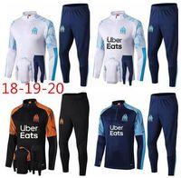 spor pantolon adam futbol toptan satış-New2019 Olimpiyat Marsilya Eşofman Futbol Koşu Futbol Ceket Ceket Tops Spor Eğitim 18/19/20 Suit Erkekler OM Futbol eşofman Boyut S-X