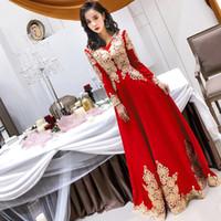 плюс размер красный чеонгам оптовых-Long Sleeve Red Oriental Style Dresses Chinese Bride Vintage Traditional Wedding Cheongsam Dress Long Qipao Plus Size XS-3XL