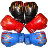 кожаный мешок с песком оптовых-Спарринг Тренировка Flame Кожаные перчатки Kid Child Боксерские перчатки Пробивая мешок Sanda Sandbag Guante боксерский мешок перчатки LLA105