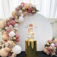 bogen für ballons groihandel-100pcs Bohnenpaste Macaron White Party Dekoration Luftballons Garland Arch Kit Metallic Gold Ballon-Dekorationen Hintergrund Baby Shower CY200522
