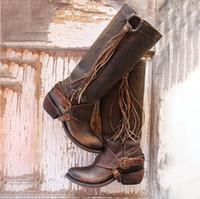 knie hohe schuhe schnallen großhandel-Winter kniehohe stiefel frauen pu leder mid heels reitstiefel mode schnalle fringe schuhe zapatos mujer chaussures femme