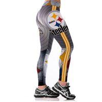 ingrosso leggings trasparenti-JL 2017 Nuove Squadre Leggings donne Partita Raider Sporting Leggings fitness 3D Print elastico No trasparenti Taglie Pantaloni S18101502