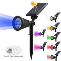 projecteur extérieur à led ip65 achat en gros de-Solaire 4/7 LED Lampe Spotlight solaire réglable en sol IP65 imperméable paysage lumière murale éclairage extérieur