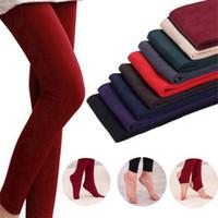 kadın bacak taytları toptan satış-Kadınlar Kış Kalın Legging Sıcak Artı Kadife Pantolon Kalınlaşma İnce Tayt Tayt Elastik Külotlu Pantolon Giyen 8 Renkler HHA475