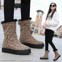 botas de piel de zorro de cuero nobuck al por mayor-Moda cartas de leopardo de las mujeres botas de marca botas de nieve de felpa punta redonda invierno mujer 2019 nuevas altas zapatillas de deporte 2019 nueva caliente