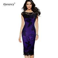 кружевные бабочки-блестки оптовых-Kenancy 5XL плюс размер женщины карандаш Платье летняя мода изысканные блестки крючком бабочка кружева партии Bodycon платье J190622