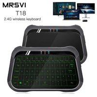 virtuelle drahtlose tastatur großhandel-T18 2,4 GHz Wireless Virtual Keyboard Multifunktionale Farb-Hintergrundbeleuchtung Touchpad Air Mouse mit USB-Empfänger für Android TV Box