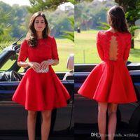 ingrosso junior plus vestito-2019 Economici Red Short Lace Homecoming Dress A Line Mezze maniche Juniors Sweet 15 Graduation Cocktail Party Dress Plus Size Custom Made