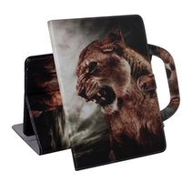 Wholesale drawing tablet stand resale online - Tablet Case For Samsung Galaxy Tab A8 SM P200 P205 Handle Flip Cover Stand Leather Wallet Coloured drawing Tiger Lion wolf