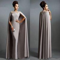 robes de mariée mère gaine vintage achat en gros de-Robes de soirée gaine vintage avec longue cape en dentelle mère de la mariée soirée formelle plus la taille des robes de bal