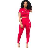 en iyi bahar kıyafetleri toptan satış-Yaz Kadın Şampiyonlar Eşofman Mektup Baskı Kısa Kollu T-shirt Kırpma Üst + Pantolon 2 Parça Set Bahar Spor Kıyafetleri Spor en iyi C3196