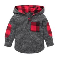 ördek kazak hoodie toptan satış-Bebek Çiçek kafes Hoodies Kazak çocuk Erkek Kız ekose 2019 ilkbahar Sonbahar T Shirt moda Çocuk Giyim C5814 Tops