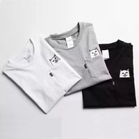 черные серые майки для мужчин оптовых-RipNDip Lord Nermal Футболки с карманами Мужчины Cat с принтом с принтом Смешные футболки Белый Черный Серый с коротким рукавом Хлопковая футболка Уличная одежда для мужчин YBF0914