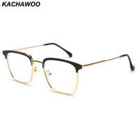 schwarze quadratische brillengläser großhandel-Kachawoo platz brillenfassungen für männer metall frauen brillengestell optische hohe qualität schwarz gold silber 2019