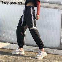 frauen koreanische baggy hose großhandel-Frauen Plus Size Pantalon große schwarze Harajuku Cargo Sweat Pants koreanischen Stil Sport hohe Taille Baggy Jogger SweatpantsC475
