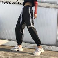 mulheres calças holandesas venda por atacado-Mulheres Plus Size Pantalon Grande Preto Harajuku Carga Calças Suor Estilo Coreano esporte Cintura Alta Baggy Corredores SweatpantsC475